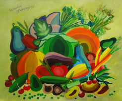 this project is about learning fruits and vegetables the paintings here show all sorts of fresh food and help little kids to learn the names and looks of