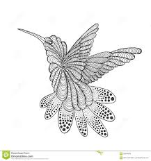 колибри Zentangle стилизованный иллюстрация вектора иллюстрации