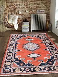 hand knotted afghan wool and silk runner rug dark orange navy af0112 getmyrugs com