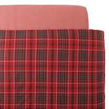 organic cotton flannel duvet cover k red check