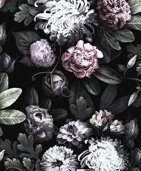 Black floral wallpaper, Vintage floral ...