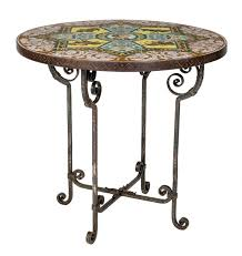 round iron pedestal tile top table spanish bull fighters for