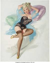 DONALD RUST (American b.1932) . Original pin up illustration . Oil ...