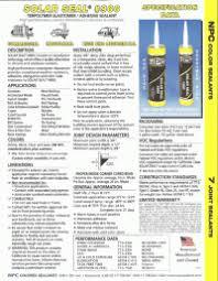 Npc Solar Seal Color Chart Sealant Npc Sealants Home