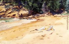 sand beach schooner head maine painting john singer sargent sand beach schooner head maine art