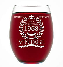 1958 60th birthday gifts for women and men wine gl funny vine anniversary gift ideas