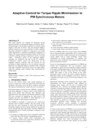 pdf adaptive control for torque ripple minimization in pm synchronous motors