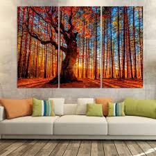 Modern Wall Decor For Living Room Aliexpresscom Buy 3 Piece Autumn Sun Red Tree Maple Leaf Modern