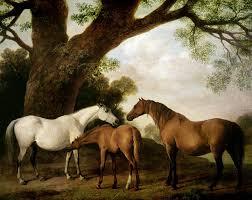 two painting two mares and a foal by george stubbs
