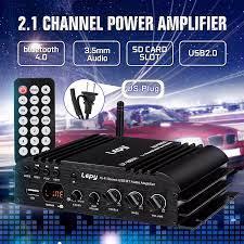 LEPY 168 Mobil Amplifier Kekuatan Speaker Subwoofer 2.1 Channel HI FI Amp  Bass Suara Stereo Bluetooth FM 19V 3A untuk Mobil Rumah|Multichannel  Amplifier