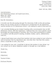 Awesome Collection Of Elementary Teacher Cover Letter Examples Cover