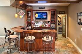 Bar Ideas For Basement Light Stone Surfaces Rustic Basement Wet Bar