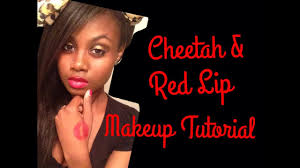 cheetah print red lip makeup tutorial