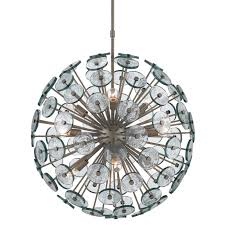 currey symphony 9 light orb chandelier in a silver granello finish