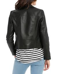 leather jacket with zip and pockets image 3