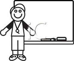 whiteboard clipart black and white. a black and white cartoon of coach at whiteboard - royalty free clipart picture