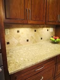 Backsplashes For Kitchens With Granite Countertops Enchanting Travertine Backsplash Metallic Bronze Inserts Cambria Quartz