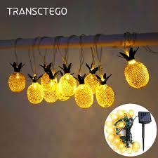 Hanging Lantern Lights String Us 11 12 35 Off Led Pineapple Solar String Light Waterproof Solar Powered Hanging Light For Christmas Outdoor Garden Lamp Decoration Party Lamp In