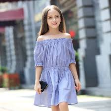 2017 Teens Girls Blue Stripe Dress Navy Style Off Shoulder Dresses ...