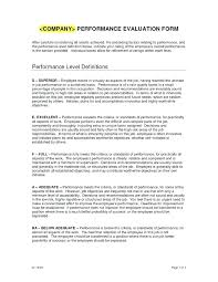 Sample Employee Performance Review Form Evaluation Template Text ...