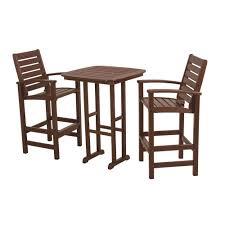 3 piece patio bar set. Wonderful Set POLYWOOD Signature Mahogany 3Piece Plastic Outdoor Patio Bar Set With 3 Piece