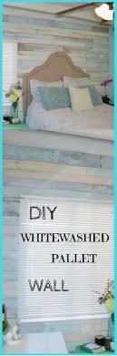 diy whitewashed pallet wall