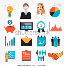 Business symbols and icons: piggy bank, resume, schedule, interest, shaking  hands