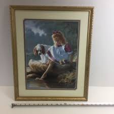 Home Interiors Art Print Picture Of Girl W Cocker Spaniel Dog By Enchanting Ebay Home Interiors