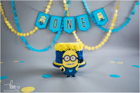 Minion 1st Birthday Cake Smash Session Kristeenmarie Photo