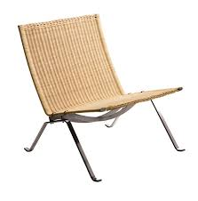 Poul Kjaerholm Pk Wicker And Stainless Lounge Chair