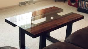 glass  wood coffee table with faux metal legs  youtube