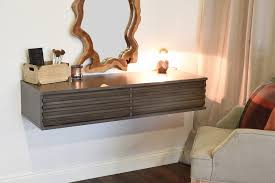 wall mounted makeup vanity. floating wall mount makeup vanity - lotus driftwood gray mounted t