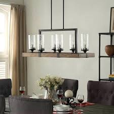 the gray barn vineyard metal and wood 6 light chandelier with seeded glass shades wood and bronze chandelier vineyard
