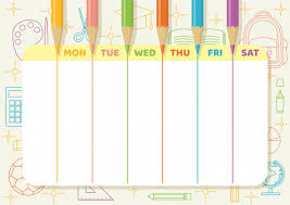 Weekly Timetable Planner School Timetable Or Weekly Planner With Color Pencils Draw