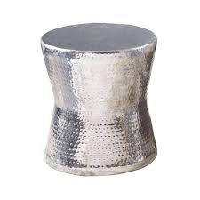 silver drum table global bazaar hammered nickel round side end table end tables silver home contemporary