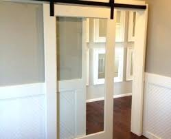 sliding glass barn doors style shower rome stainless door hardware set on exposed tracks