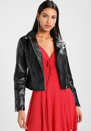 non belted faux leather jacket black