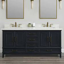 Bathroom double sink vanity Farmhouse Parker Midnight 72inch Double Sink Vanity By Mission Hills Bath Kitchen And Beyond Double Sink Vanities Costco