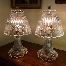 fine pair crystal boudoir lamps antique
