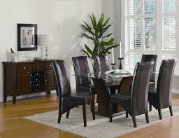 Glass Dining Table Set 4 Chairs Furniture Country Style Round Glass Dining Table And 4 Chocolate