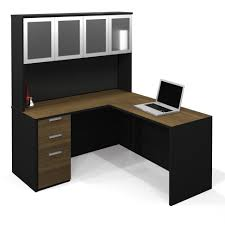 l shaped black glass desk with white wooden bases on brown wooden l shaped black wooden desk with drawers and brown wooden top complete with