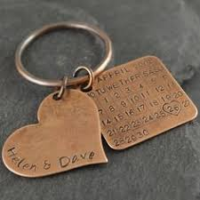 bronze anniversary keychain bronze gift 8th anniversary bronze 19th anniversary bronze anniversary gift for him bronze gift for her