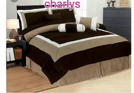 queen size bedsheet dark brown light brown and white bedding