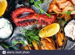 fresh seafood on the table Stock Photo ...