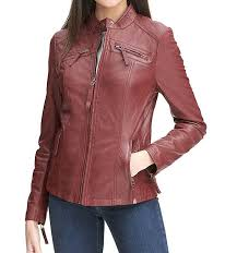 rosemere womens red leather biker jacket