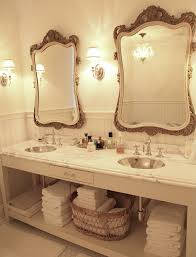 double sink bathroom mirrors. French Master Bath Design With White Custom Double Bathroom Vanity Beveled Marble Countertop, Metal Hammered Sinks, Chair Rail \u0026 Beadboard, Sink Mirrors A