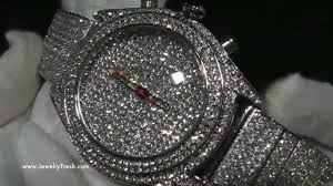 custom fully iced out platinum finish insane bling bling hip hop watch jewelryfresh you