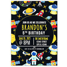 Space Party Invitation Cartoon Space Birthday 5x7 Personalized Party Invitations Ebay