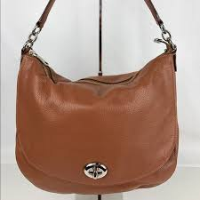 Coach Turnlock Hobo in Brown Pebble Leather