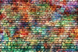 colorful brick wall graffiti backdrop